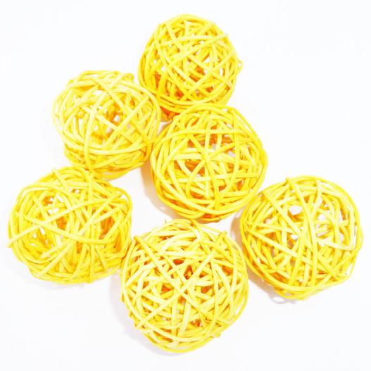 Accessoire pour d coration florale boule osier par 6 for Accessoire deco jaune