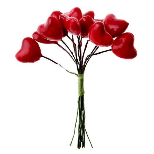 Accessoire decoration florale bouquet de 12 coeurs for Accessoire deco rouge