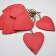 Cœur bois couleur Rouge avec corde