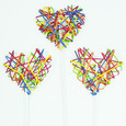 Cœur rotin multicolore sur tige