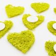 Sticker mini-cœur sisal Vert anis par 8 pièces