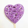 Coeur dentelle velours Lilas-Violet