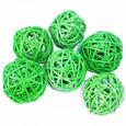 Boule Osier par 6 piéces coloris Vert Sapin