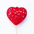 Coeur dentelle velours Rouge