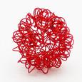 Boule 3 cm en fil de fer frisé Rouge par 6 pièces