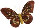 Papillon perle sur pince Chocolat Or par 2 pièces