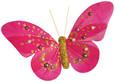 Papillon perle sur pince Fuchsia Or par 2 pièces