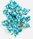 Bouquet de mini-rose par 20 pièces coloris bleu turquoise.