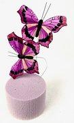 Papillons Fushia sur Tige x 2