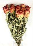 Bouquet de 20 roses orangées séchées.