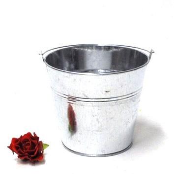 Seau zinc naturel xxl diamètre 16 cm