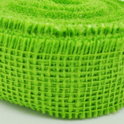 Ruban jute coloris Vert anis par 5 métres
