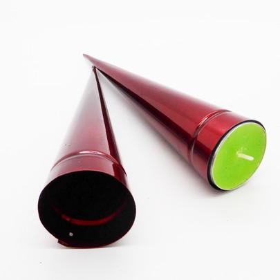 Cône zinc Rouge 20 cm pour fleur ou bougie fond de plat