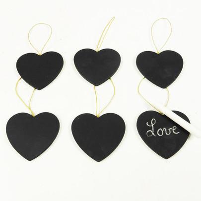 coeur ardoise sur corde lot de 6 pièces avec craie