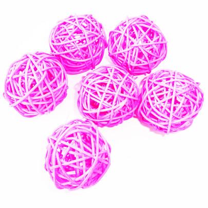 Boule Osier par 6 pièces coloris Fuchsia