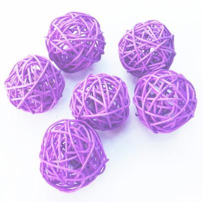 Boule osier par 6 piéces coloris Violet