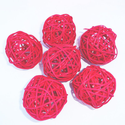 Boule osier par 6 piéces coloris Rouge