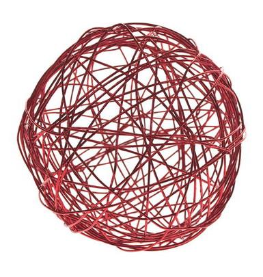 Boule 4 cm en fil de fer Rouge par 5 pièces