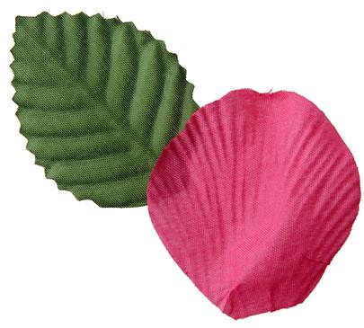Pétale de rose et feuille coloris Rose Fuchsia
