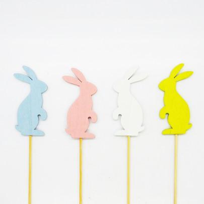 Mini-lapin bois pastel par 4 pièces