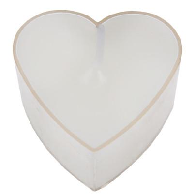 Bougie chauffe-plat forme cœur Blanche par 4 pièces