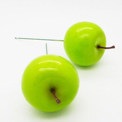 Pomme Verte artificielle sur pique par 2 pièces