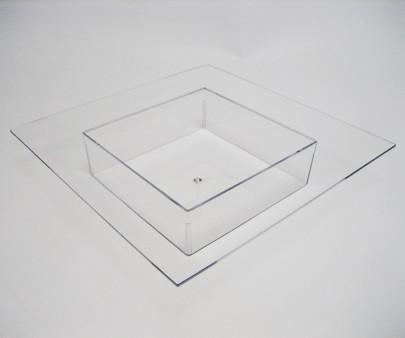 Coupe carrée avec rebord Plexiglas Cristal