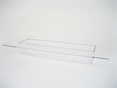 Coupe rectangle avec rebord Plexiglas Cristal