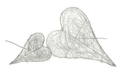 Porte-bouquet en fil Argent en forme de coeur fermé