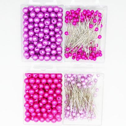 Kit matériel art floral Perle Epingle Lilas Rose fuchsia