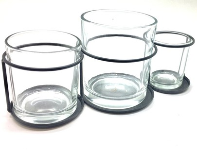Présentoir métal plus 3 verres