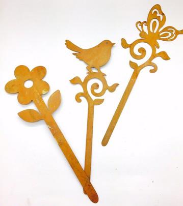 PIQUE Oiseau, Papillon, Fleur ROUILLE.
