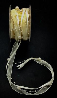 RUBAN de SATIN sur guirlande de Perles IVOIRE