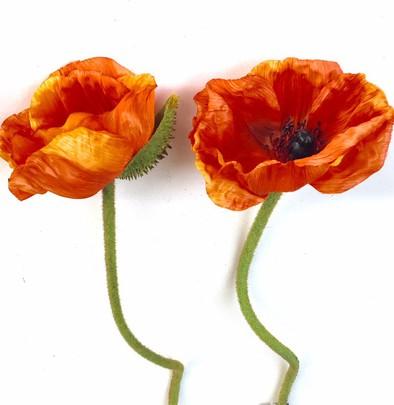 Fleur de PAVOT artificielle Rouge Orangé