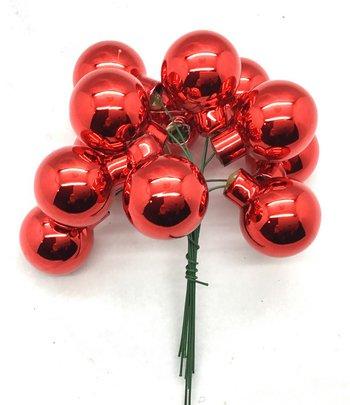 Boule de Noel en verre sur pique brillante Rouge