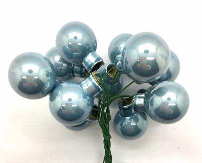 Boule de Noel en verre sur pique brillante Bleue