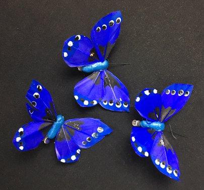 Papillons Bleus sur Pince X 3.