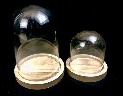 Cloche en verre sur support bois Grand Modèle