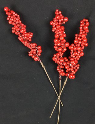 Branche imitation Baie Rouge Glacée x3