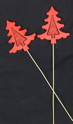 Sapin rouge en bois pailleté sur pique x 2
