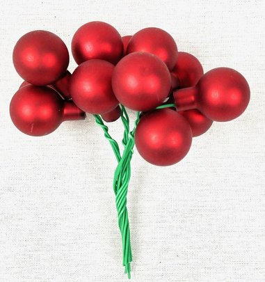 Boule de Noel en verre sur pique rouge mate par 12.