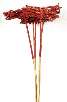 Mini Fagot de Bois Rouge Pailleté sur Pic x 5