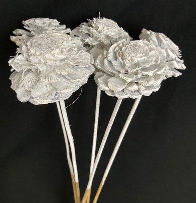 Mini pommes de Pin Fleur Blanche Pailleté sur Pic x 5