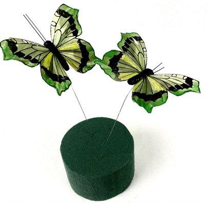Papillons Verts sur Tige x 2