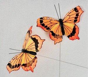 Papillons Orange sur Tige x 2
